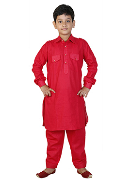 Red Linen Cotton Kids Pathani