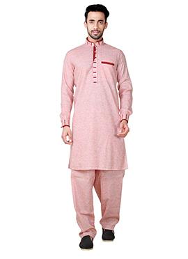 Red Linen Cotton Pathani Set