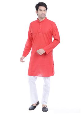 Red Linen N Cotton Kurta Pyjama