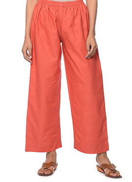 Red Linen Palazzo Pant