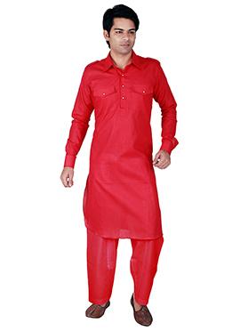 Red Linen Pathani Set