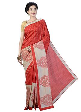Red Linen Saree