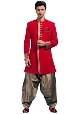Red Linen Patiala Style Sherwani