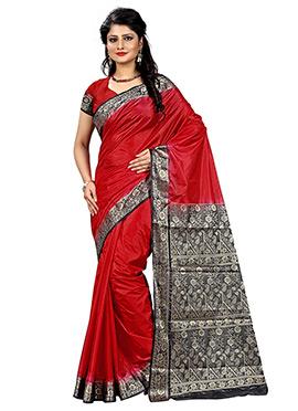 Red Linen Zari Weaved Border Saree