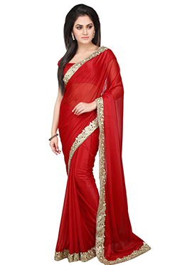 Red Lycra Border Saree