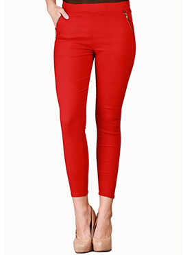 Red Lycra Cotton Straight Pant
