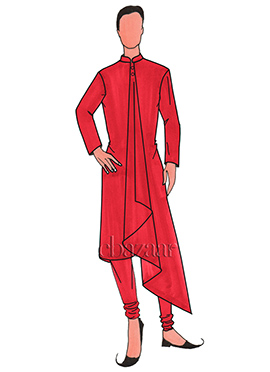 Red Lycra Flared Kurta Set