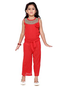 Red Lycra Kids Jumpsuit