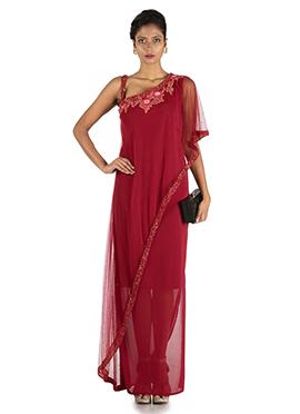 Red Lycra Cape Dress