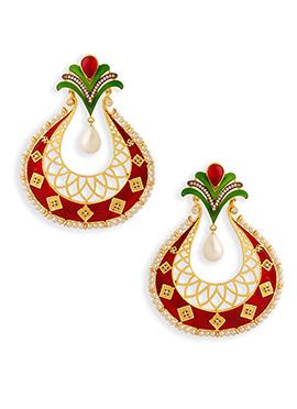 Red Meenakari Chand Balis