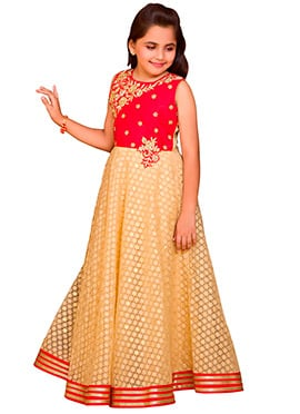 Red N Beige Art Silk Anarkali Gown