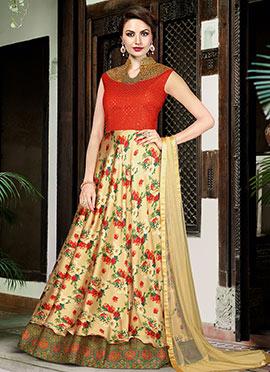 Red N Beige Art silk Anarkali Suit
