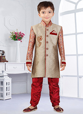 Maroon N Beige Art Silk Breeches Style Kids Sherwa