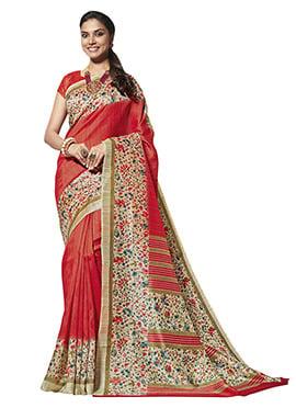 Red N Beige Art Silk Cotton Saree