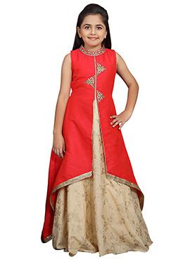 Red N Beige Art Silk Girls Gown
