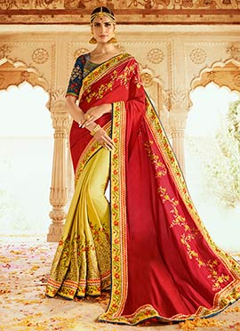 Red N Beige Art Silk Half N Half Saree