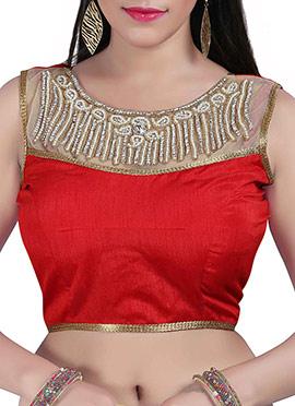 Red N Beige Art Silk N Net Blouse