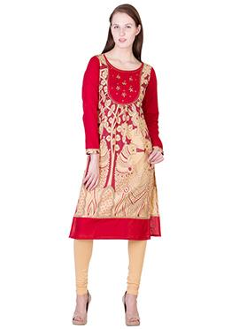 Red N Beige Blended Cotton Kurti