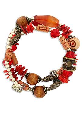 Red N Beige Crystal Studded Bracelet