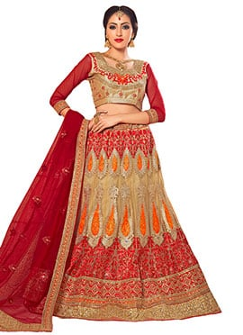 Red N Beige Embroidered A Line Lehenga Choli