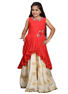 Red N Beige Embroidered Anarkali Gown
