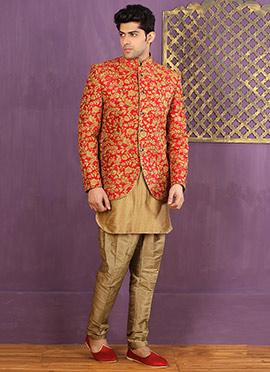 Red N Beige Jodhpuri Style Indowestern Sherwani