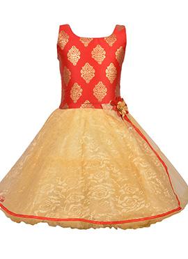 Red N Beige Net Kids Gown