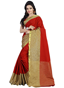 Red N Beige Polyester Saree