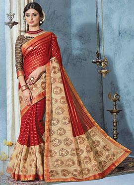 Red N Beige Printed Saree