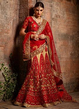 Red N beige Pure Raw Silk A Line Lehenga Choli