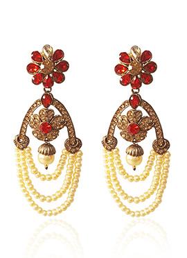 Red N Beige Stone Dangler Earring