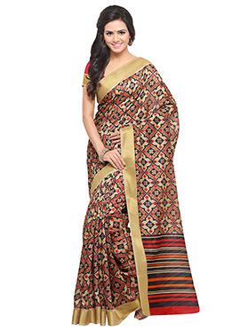 Red N Beige Tussar Silk Saree