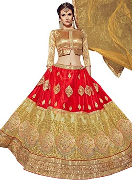 Red N Beige Umbrella Lehenga Choli