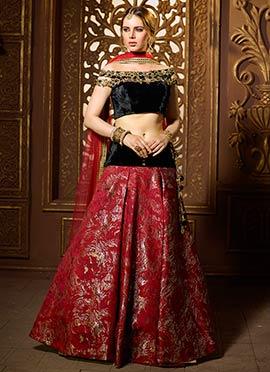 Red N Black Art Benarasi Silk Umbrella Lehenga