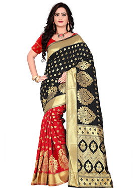 Red N Black Art Silk Half N Half Saree