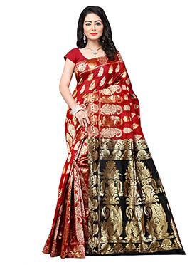 Red N Black Benarasi Silk Saree