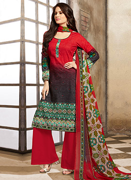 Red N Black Blended Cotton Palazzo Suit