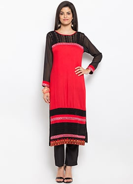 Red N Black Cotton Straight Kurti