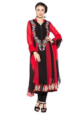 Red N Black Georgette Anarkali Suit