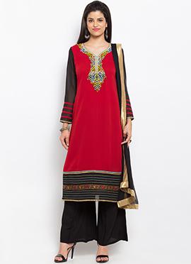 Red N Black Georgette Palazzo Suit