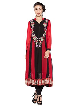 Red N Black Georgette Plus Size Long Kurti