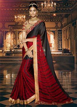 Red N Black Satin Chiffon Tie N Dye Saree