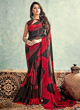 Red N Black Satin Saree