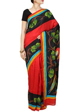 Red N Black Silk Hand Painted Saree
