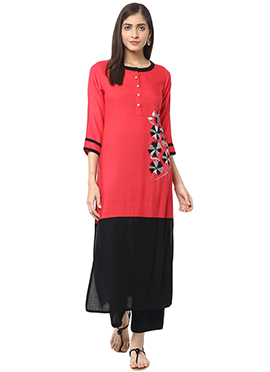 Red N Black Viscose Palazzo Set