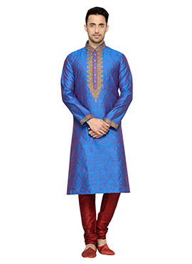 Red N Blue Art Dupion Silk Kurta Pyjama