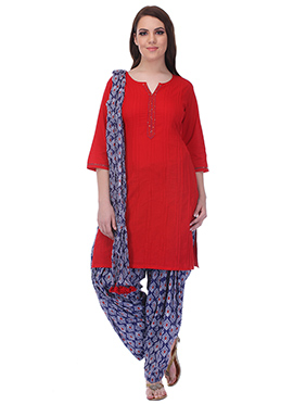 Red N Blue Pure Cotton Patiala Suit