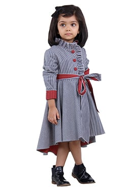 Red N Blue Denim Stripe Kids Dress