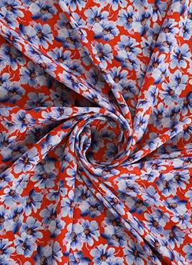 Red N Blue Digital Printed Crepe Fabric
