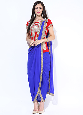 Red N Blue Georgette Draped Suit